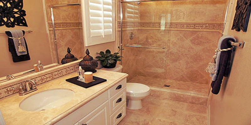 elegant bathroom with natural stone shower