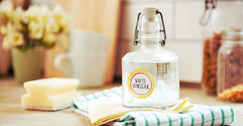 white vinegar in glass bottle and rag