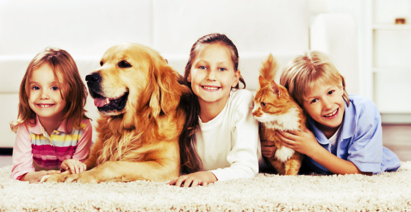 three children with cat and dog on carpet