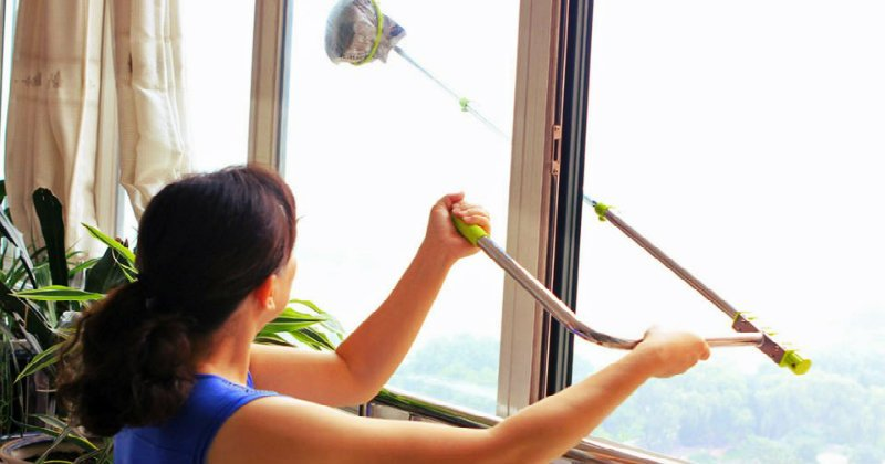 lady wiping the window with a long rod with a handle