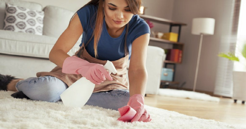 woman spraying solution on the carpet