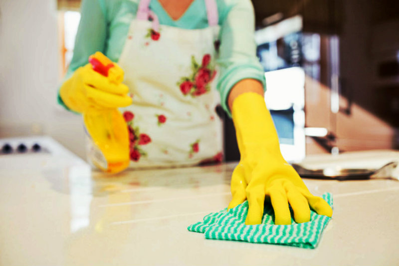 cropped image of beautiful woman wiping dirty counter top with cloth and holding spray bottle in hand