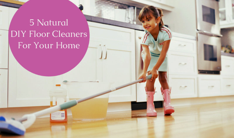 young girl mopping floor with natural products