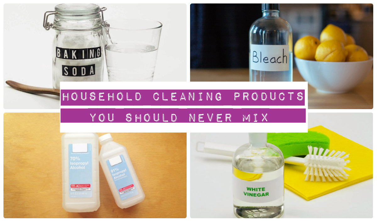 bottle of bleach with lemons, baking soda, vinager, sponge and cleaning wipes in a single frame