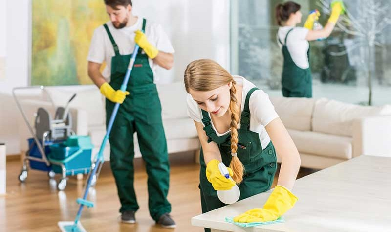 green dressed professionals making a room tidy