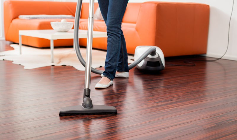 cropped picture of a woman vacuuming the floor