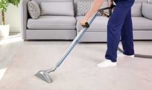 Cropped picture of a professional vacuuming the carpet