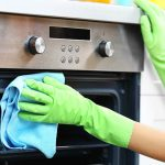 cropped picture of a woman disinfecting an oven