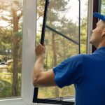young professional installing windows screens
